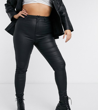 Urban Bliss Plus coated skinny jean in black