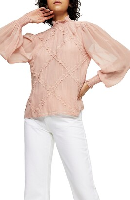 Topshop Crosshatch Lace Blouse