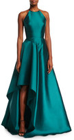 Badgley Mischka High-Neck Racerback Satin Sculptural Evening Gown