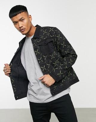 Night Addict logo print denim jacket