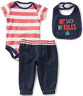Baby Starters Baby Boys 3-12 Months Nautical Striped Bodysuit, Denim-Look Pants, and Bib Set