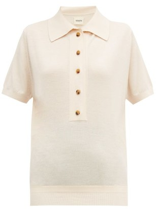 KHAITE Enzo Button-down Wool-blend Polo Shirt - Womens - Cream