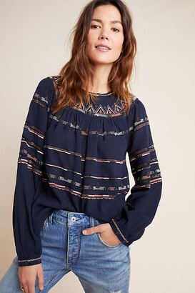 Maeve Harmony Embroidered Blouse By in Blue Size XS