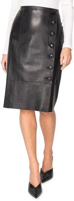 LAMARQUE Faux-Wrap Leather Midi Skirt w/ Buttons