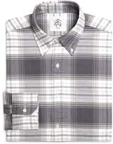 Brooks Brothers Grey and White Plaid Shirt