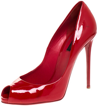 Dolce & Gabbana Red Patent Leather Peep Toe Pumps Size 38