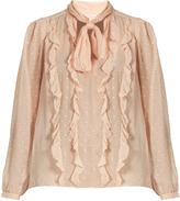 Rebecca Taylor Spot fil coupé silk-blend chiffon blouse