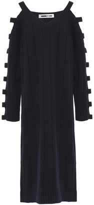McQ Cutout Ribbed Wool And Cashmere-blend Midi Dress
