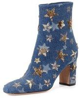 Valentino Star-Studded Denim Ankle Boot