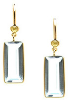 Tresor Collection - 18K Yellow Gold Earring With Blue Topaz and Champagne Diamond