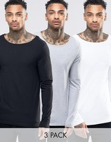 Asos Extreme Muscle Long Sleeve T-Shirt With Boat Neck 3 Pack