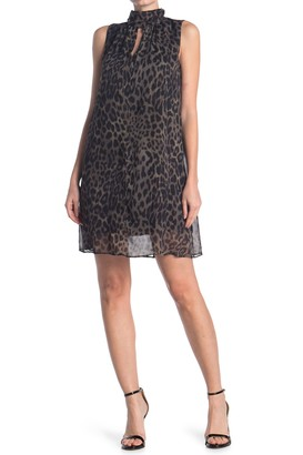 London Times Leopard Print High Neck Swing Dress