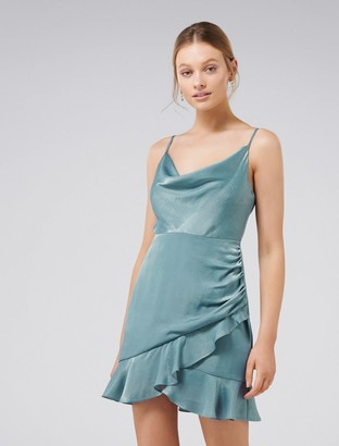 Ever New Fifi Petite Cowl Neck Wrap Frill Mini Dress
