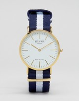 Reclaimed Vintage Navy Stripe Canvas Watch With White Dial