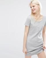 Monki Button Front T-Shirt Dress