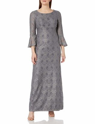 Alex Evenings Women's All Over Lace Gown with Bell Sleeves Dress