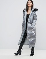 Missguided Grey Longline Satin Padded Coat