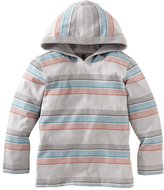 Tea Collection L/S Stripe Happy Hoodie - Storm Grey-3-6 Months
