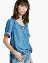 Lucky Brand Tencel Lace Up Top