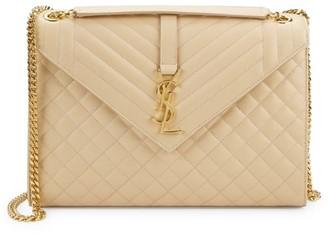 Saint Laurent Large Envelope Monogram Matelasse Leather Shoulder Bag