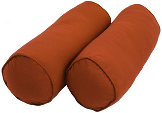"""Blazing Needles 20"""" by 8"""" Solid Twill Bolster Pillows, Spice"""