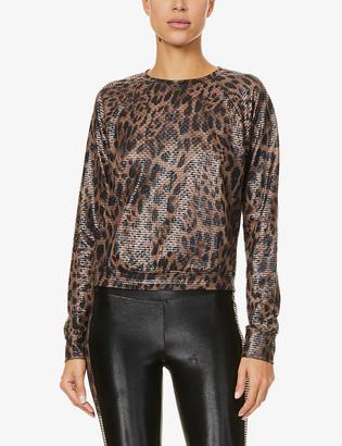 Koral Sofia Netz leopard-print stretch-jersey top