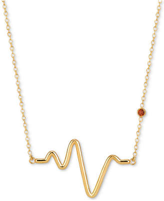 "Sarah Chloe Garnet Accent Heartbeat 16""-18"" Pendant Necklace in 14k Gold Over Sterling Silver"