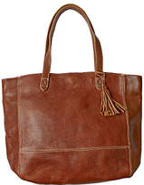 Fat Face Large Leather Tassel Tote Bag, Chestnut