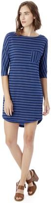 Alternative Women's Eco Jersey Yarn Dye Stripe Skipper Dress Lake Blue Olive Riviera