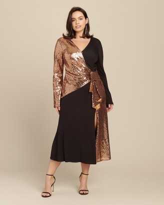 Prabal Gurung Long Sleeve Wrap Front Combo Dress