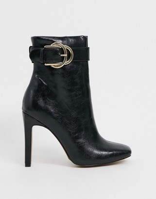 ASOS DESIGN Envy high ankle buckle boots in black