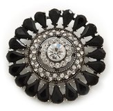 Avalaya Vintage Black Acrylic Swarovski Crystal Corsage Brooch In Burn Finish - 5cm Diameter