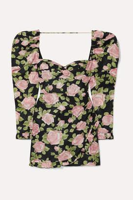 Alessandra Rich Ruffled Floral-print Silk-taffeta Mini Dress - Black