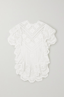 Isabel Marant Zainos Ruffled Crocheted Cotton Blouse - White