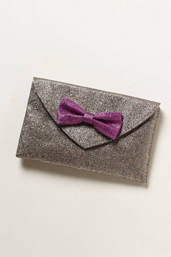 Anthropologie Bowtie Shimmer Clutch