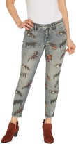 Laurie Felt Classic Denim All-Over Embroidered Slim Leg Jeans