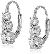 Anne Klein Silver-Tone Cubic Zirconia Linear Drop Earrings