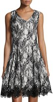 Chetta B Bonded Lace Fit-and-Flare Sleeveless Dress, Black/White