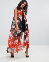 Liquorish Shift Dress With Overlay In Floral Print