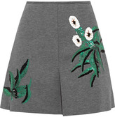 Marni Pleated sequin-embellished bonded-jersey mini skirt
