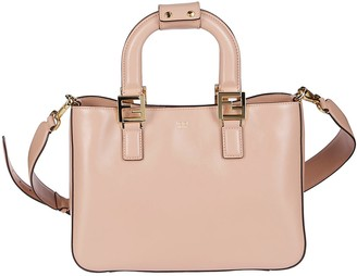 Fendi Light Pink Leather Ff Small Tote Bag