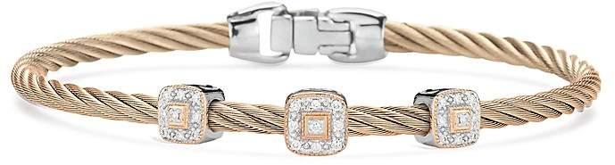Alor Carnation Three-Station Cable Bangle Bracelet With Diamonds