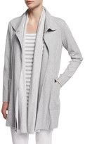 Joan Vass Long Cotton Interlock Jacket, Plus Size