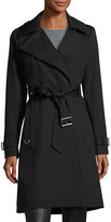 French Connection Draped Belted Trench Coat, Black