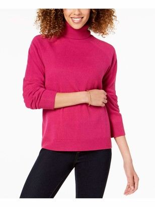 Karen Scott Womens Pink Ribbed Solid Long Sleeve Turtle Neck Blouse Sweater Petites US Size: PP