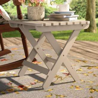 Makenzie Folding Wood Side Table August Grove Color: Taupe Gray