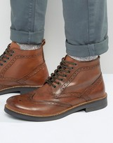 Frank Wright Brogue Boots In Tan Leather