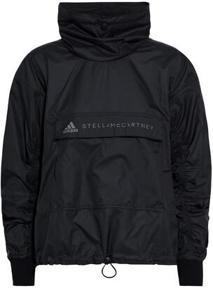 adidas by Stella McCartney Running Tech Open Knit-paneled Printed Shell Jacket