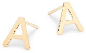 Saks Fifth Avenue Made In Italy 14K Yellow Gold 'A' Initial Earrings