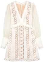 Zimmermann Super Eight appliqued linen mini dress